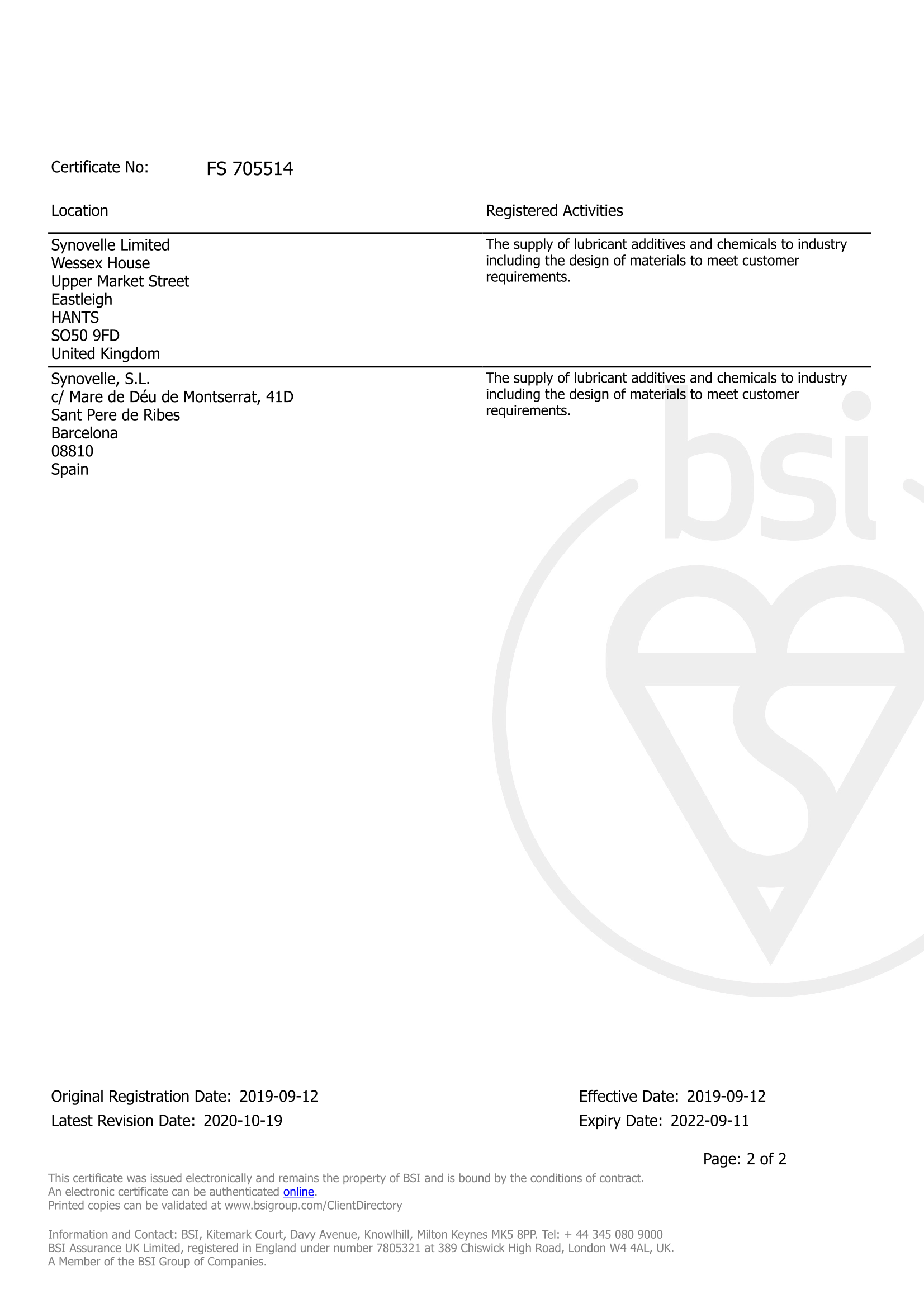 Synovelle ISO Certification page 2